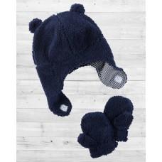Комплект 2в1 шапочка и рукавички темно-синего цвета Картерс