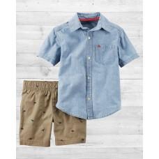 Комплект 2в1 шортики и рубашка шамбре Картерс
