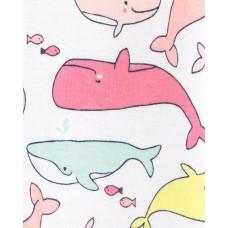"""Коттоновый человечек слип с открытыми ножкамми """"Разноцветные киты"""" Картерс"""