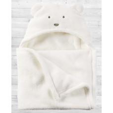 Плюшевое белое одеяло с капюшоном Картерс