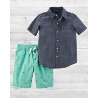 """Комплект 2в1 шортики и рубашка """" Маленький Капитан"""" Картерс"""