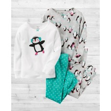 """Комплект коттоновых пижамок 4в1 """"Веселые пингвинчики"""" Картерс"""