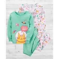"""Комплект коттоновых пижамок 4в1 """"Space Cat"""" Картерс"""