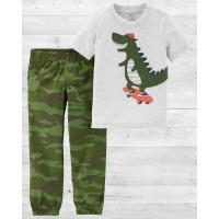 """Коттоновый комплект 2в1 штаны и футболка """"Крокодил на скейте"""" Картерс"""