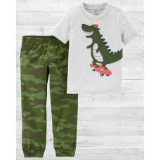 """Коттоновый комплект 2в1 штаны и футболка """"Крокодил на скейте"""" Carters"""