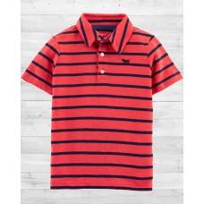 """Красная футболка-поло """"В полосочку"""" Картерс"""