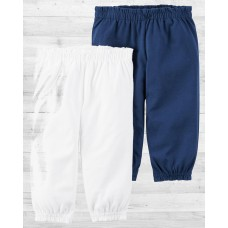Комплект из 2-х бело-синих штанишек для девочки Картерс