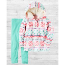Комплект 2в1 флисовый пуловер и леггинсы Картерс