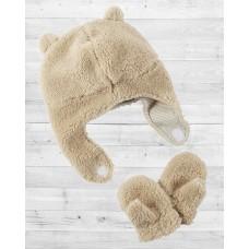 Комплект 2в1 шапочка и рукавички бежевого цвета Картерс