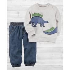"""Комплект 2в1 пуловер и джинсы """"Динозаврики"""" Картерс"""