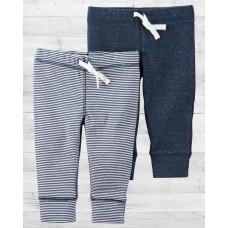 Комплект из 2-х синих и полосатых штанишек babysoft Картерс