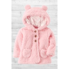 Теплая розовая кофточка с ушками на капюшоне Картерс