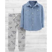 Комплект 2в1 штаны и джинсовая рубашка Картерс