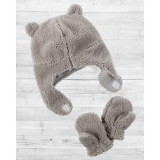 Комплект 2в1 шапочка и рукавички серого цвета Картерс