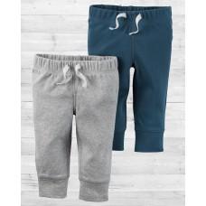 Комплект из 2-х серых и синих штанишек babysoft Картерс