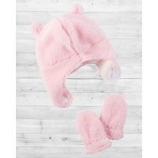 Комплект 2в1 шапочка и рукавички розового цвета Картерс