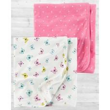 """Комплект 2в1 пеленальных одеял-пеленок """"Бабочки"""" Картерс"""