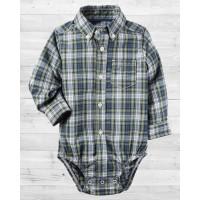 Рубашка-бодик Картерс в серую клеточку