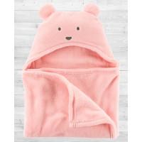 Плюшевое розовое одеяло с капюшоном Картерс