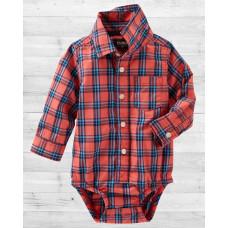 Рубашка-бодик ОшКош в красную клеточку