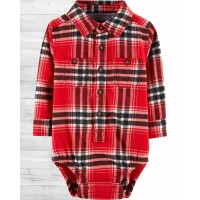 Фланелевая рубашка-бодик ОшКош в красную клеточку