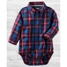 Рубашка-бодик ОшКош в темно-синюю клеточку