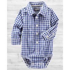Рубашка-бодик ОшКош в бело-синюю клеточку
