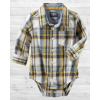Рубашка-бодик ОшКош в желтую клеточку