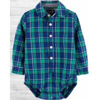 Рубашка-бодик в сине-зелёную клеточку ОшКош
